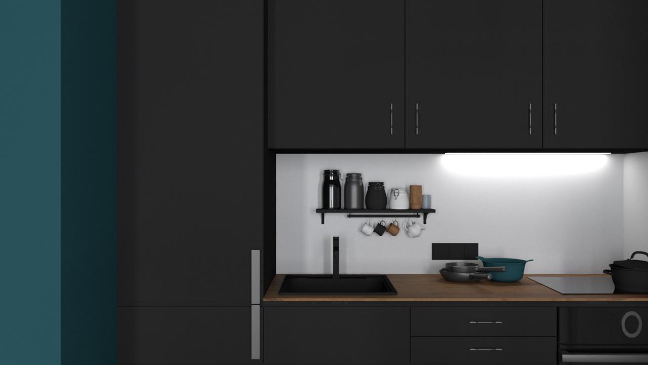 Konyha 3_12 fekete bútorlap és fa konyhabútor
