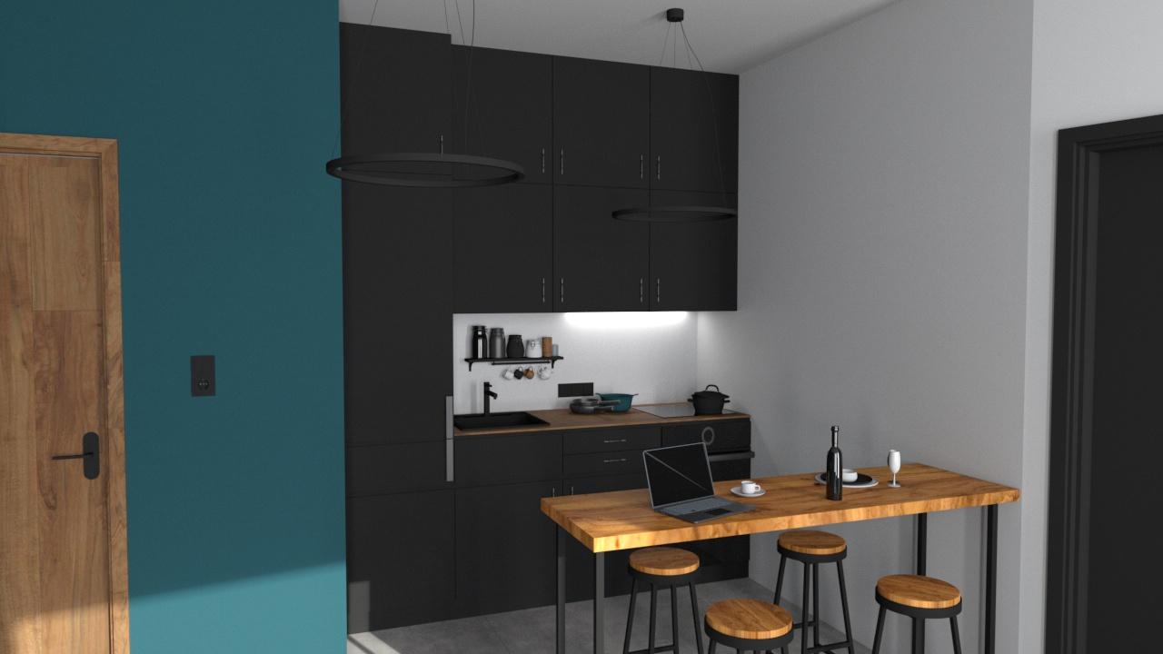 Konyha 3_15 fekete bútorlap és fa konyhabútor
