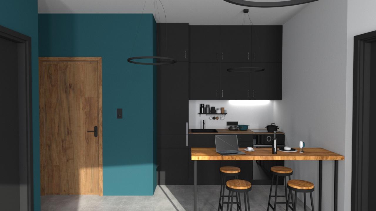 Konyha 3_7 fekete bútorlap és fa konyhabútor