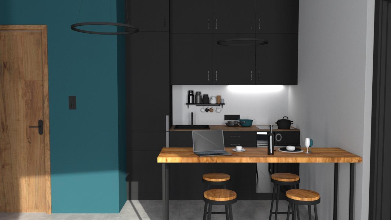 Konyha 3_9 fekete bútorlap és fa konyhabútor